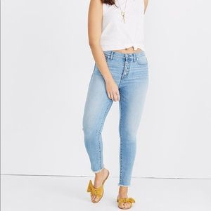 "Madewell 9"" high rise raw hem cropped jeans"